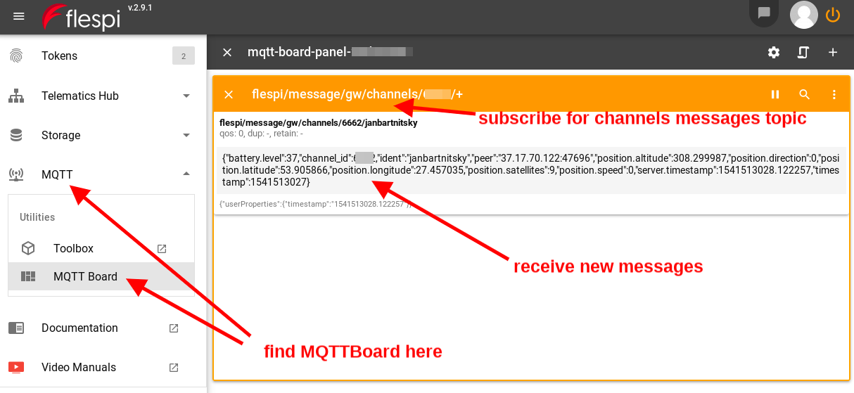 mqtt board channel messages