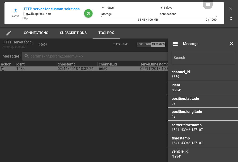 flespi http channel toolbox
