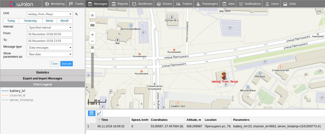 wialon unit on map