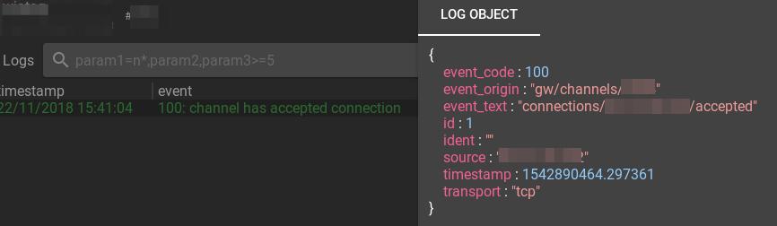 flespi channel connection log