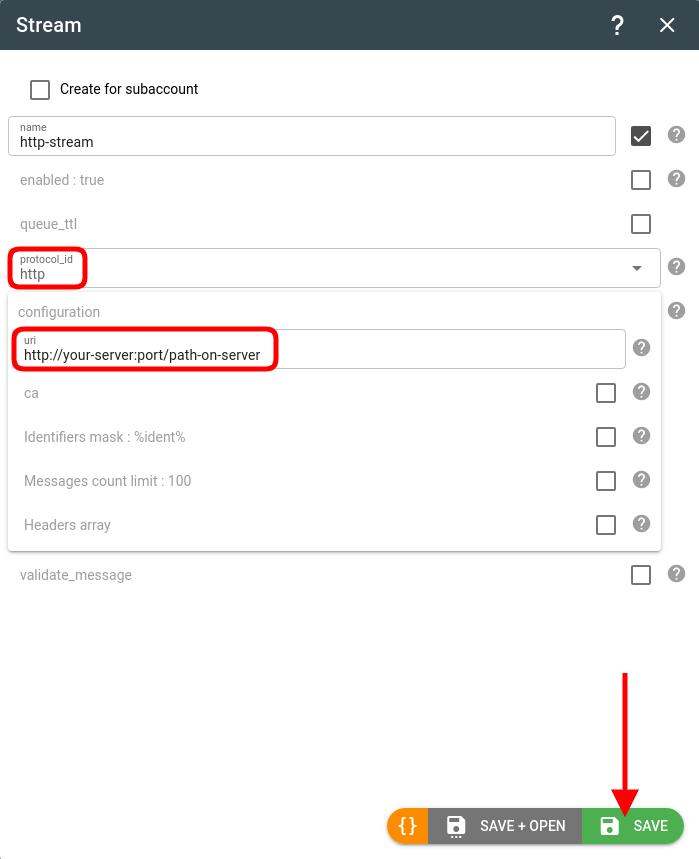 create flespi http stream