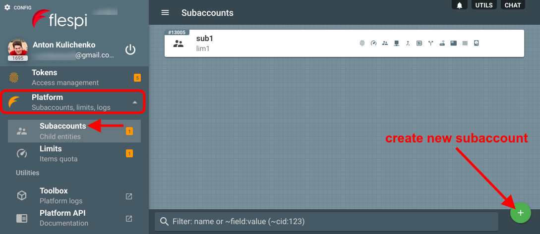 create a subaccount in flespi