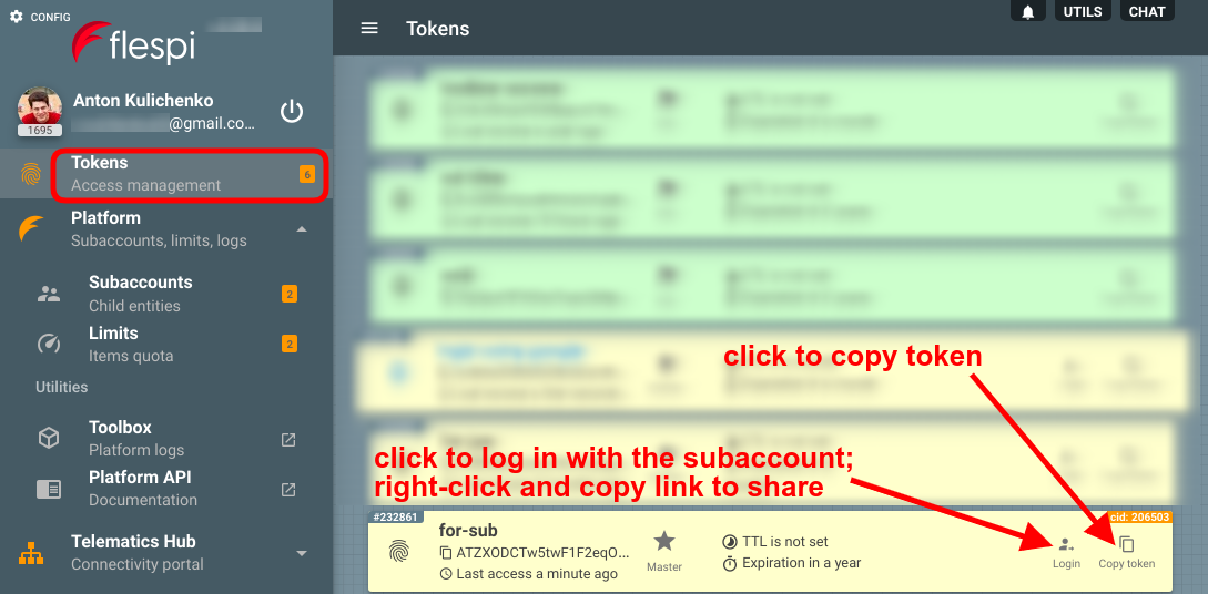 log in with subaccount in flespi