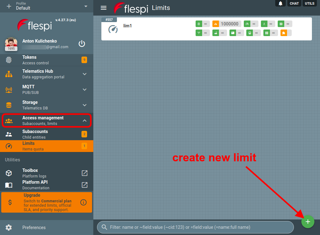 create new limit in flespi