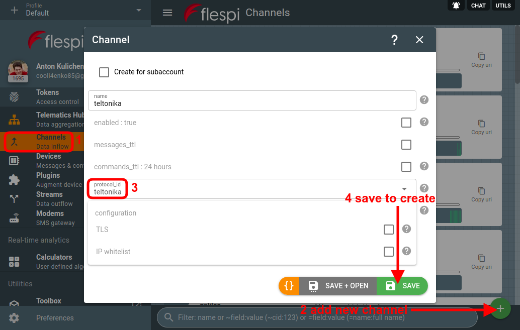 create flespi channel
