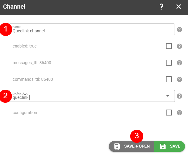 create queclink channel flespi