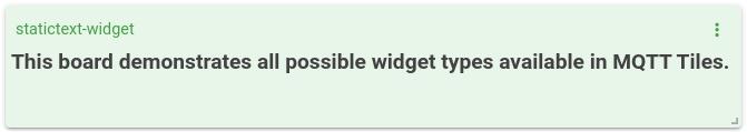 mqtt tiles static text widget