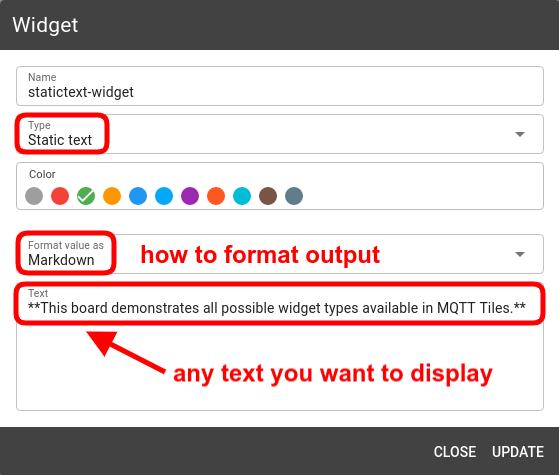 mqtt tiles static text widget config