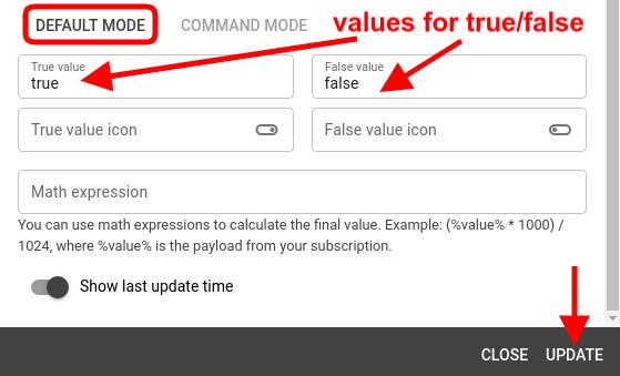 mqtt tiles toggle widget default mode config