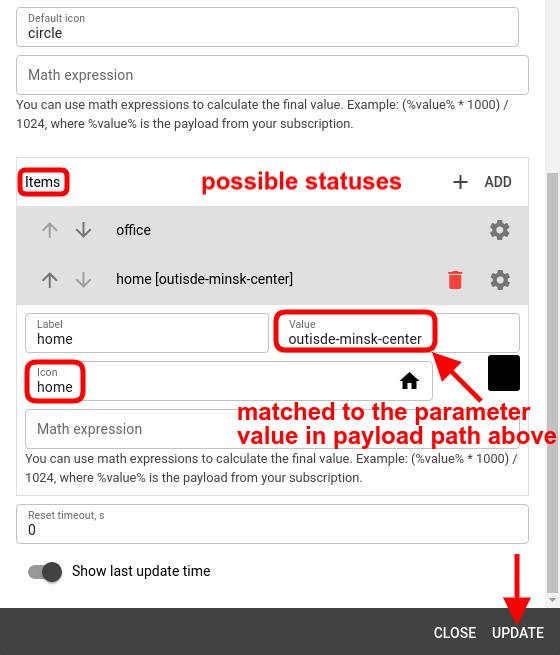 mqtt tiles status indicator widget items config
