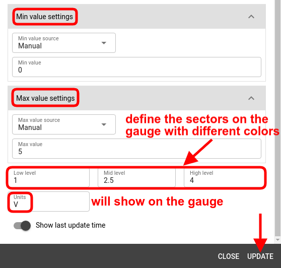 mqtt tiles radial gauge widget min max values