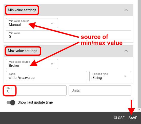mqtt tiles slider widget min max values