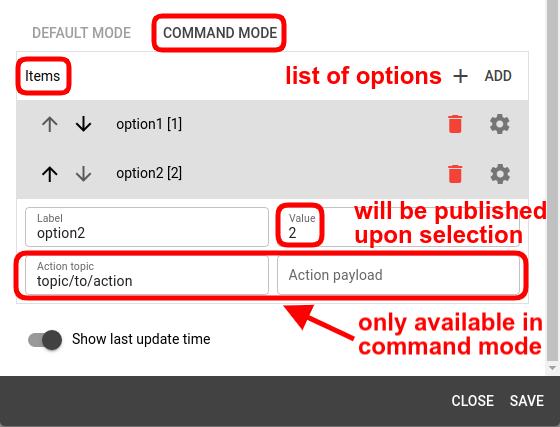 mqtt tiles radio button widget command mode config