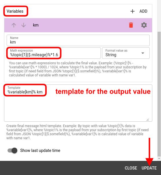 mqtt tiles formula widget variables config