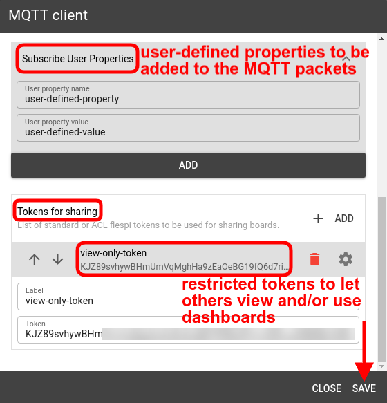 mqtt tiles user properties tokens