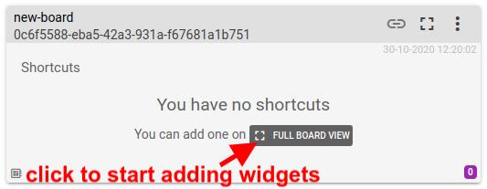 mqtt tiles full board view add widgets
