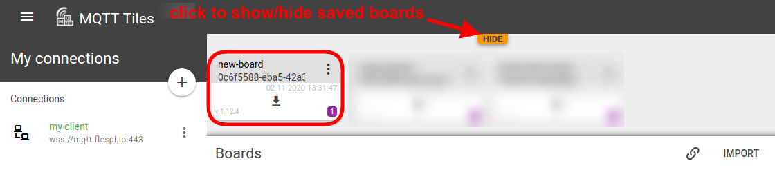 mqtt tiles saved boards pane