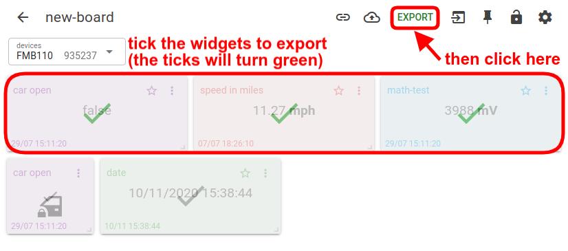mqtt tiles export widgets