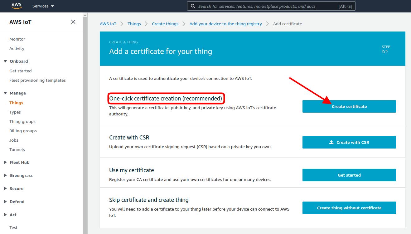 aws iot certificate create