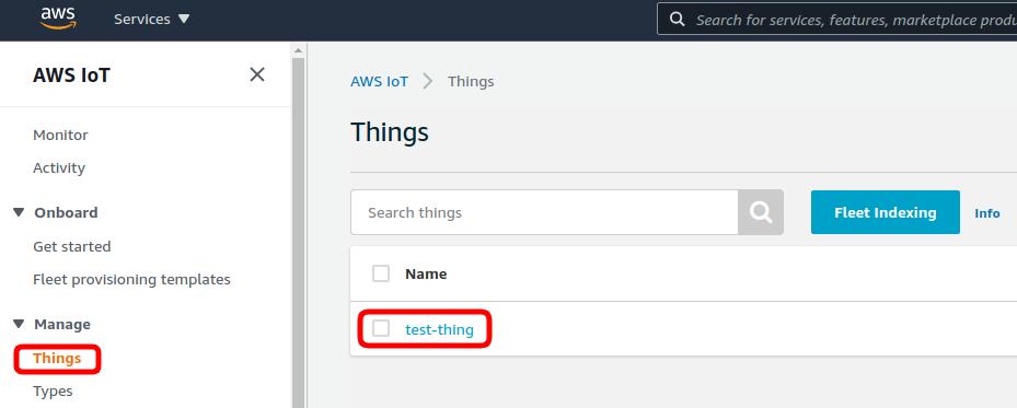 aws iot thing created