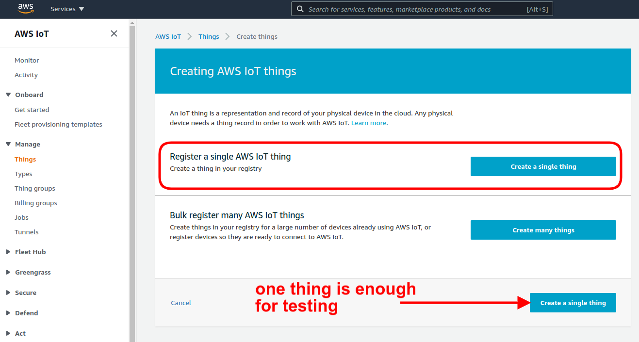 register a single aws iot thing