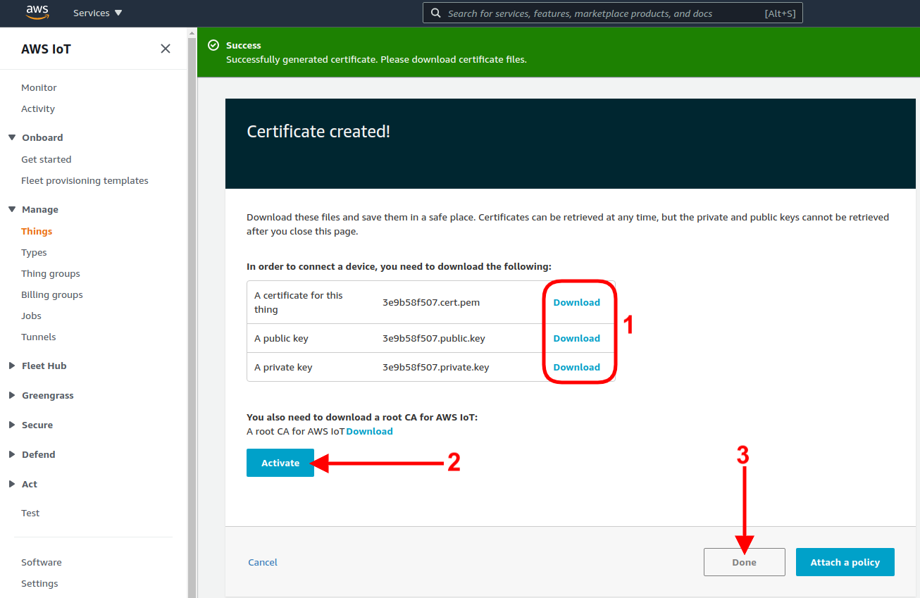 aws iot certificate download activate