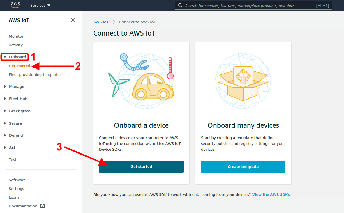 aws iot onboard a device