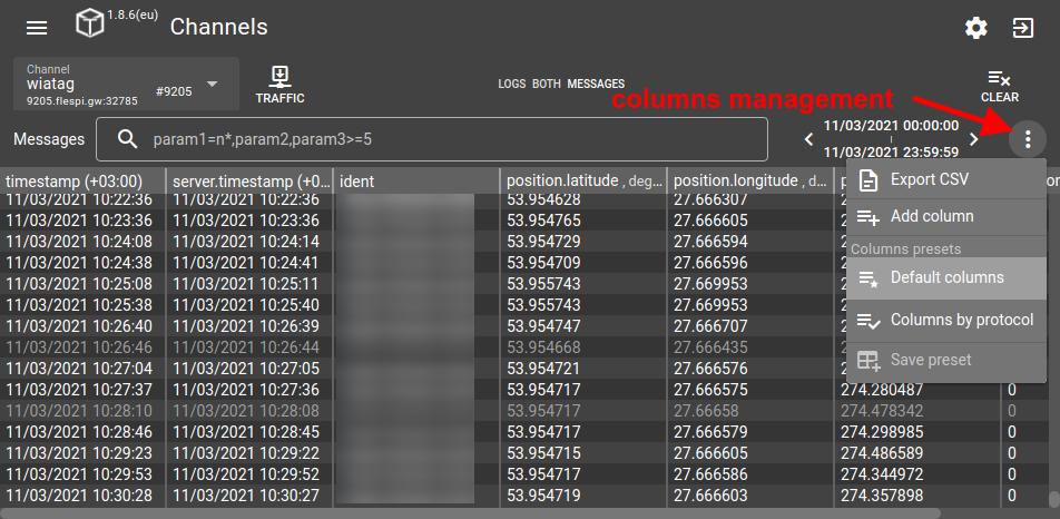 flespi toolbox columns management