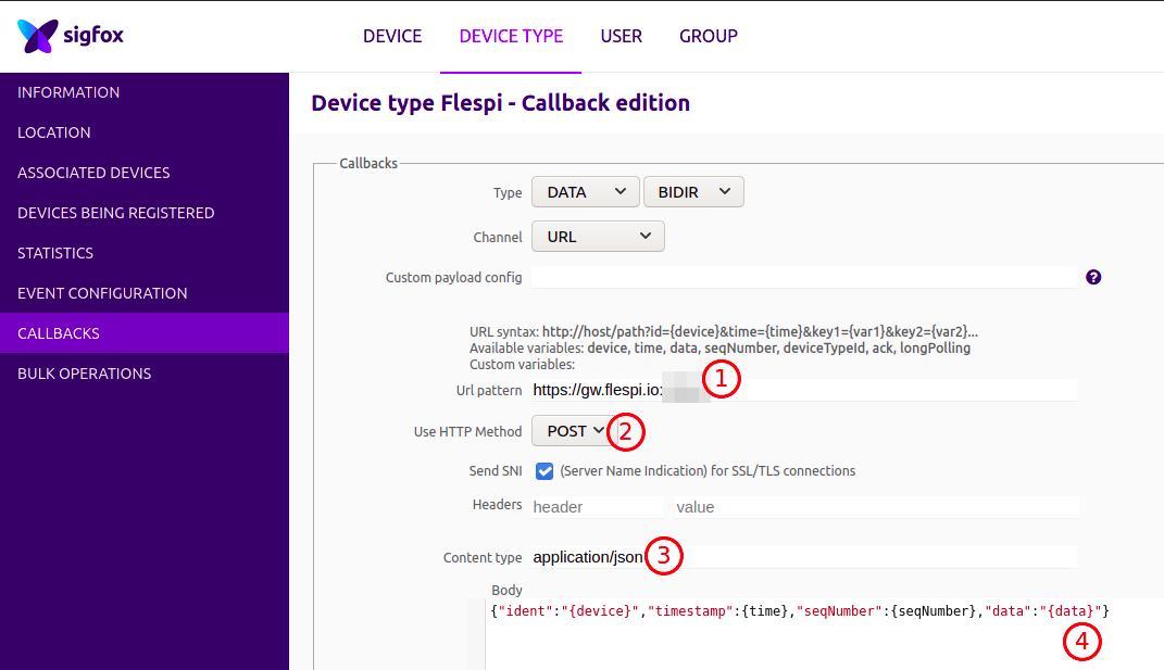 sigfox configure callback steps