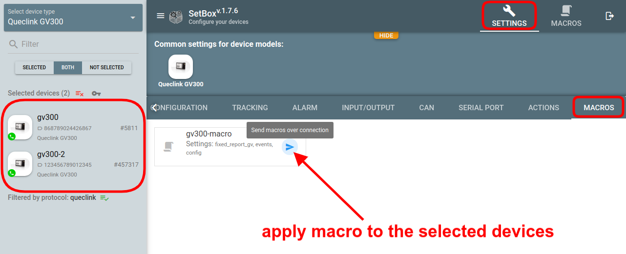flespi setbox apply macros to devices