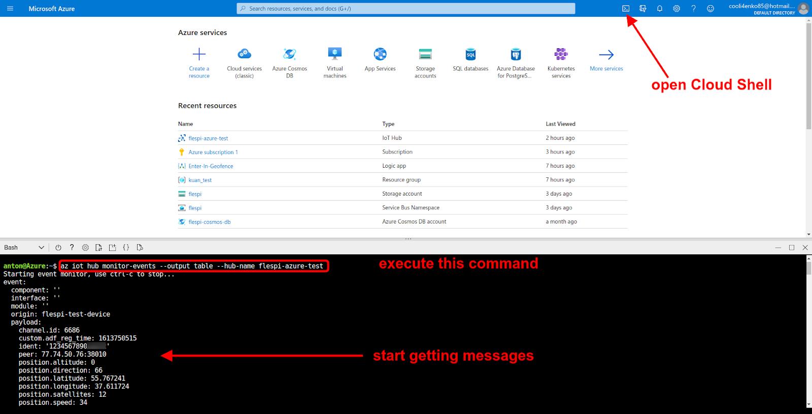 azure cloud shell hub monitor events command