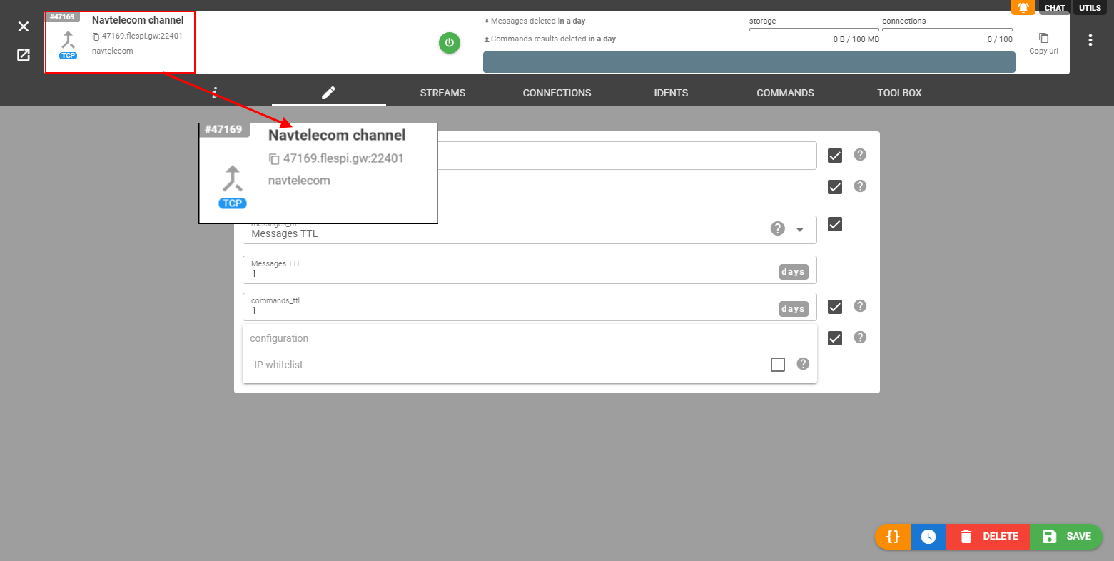 flespi navtelecom channel domain name port