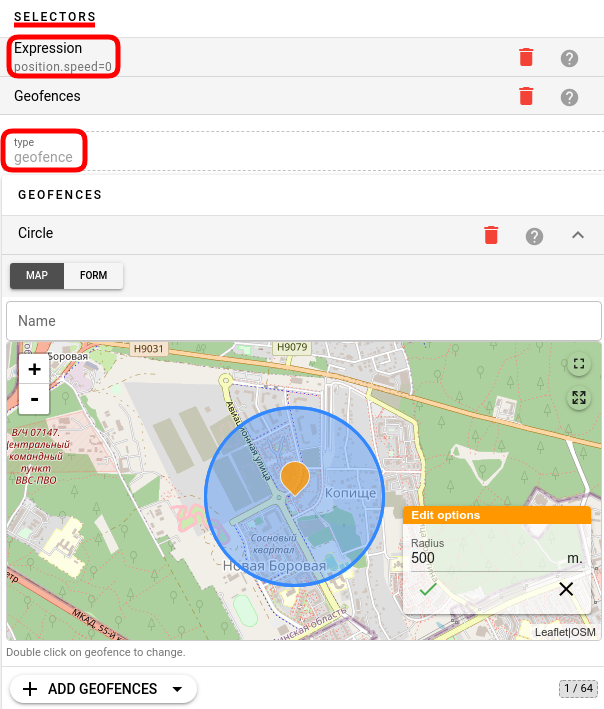 flespi calculator circular geofence selector