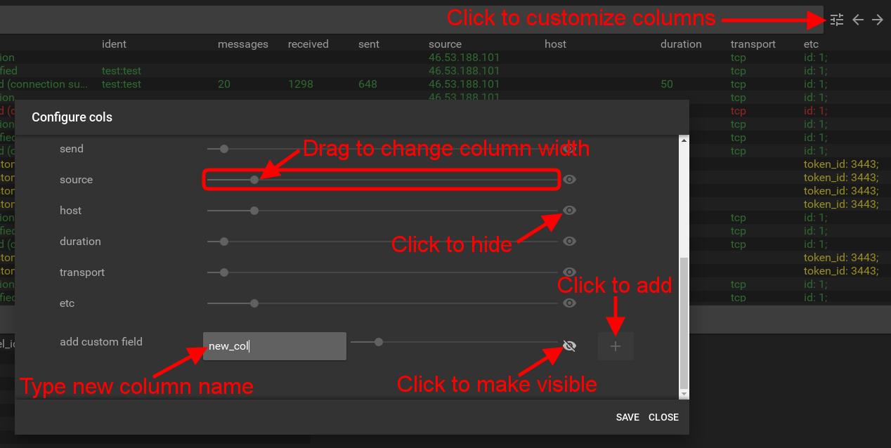 flespi toolbox customize columns