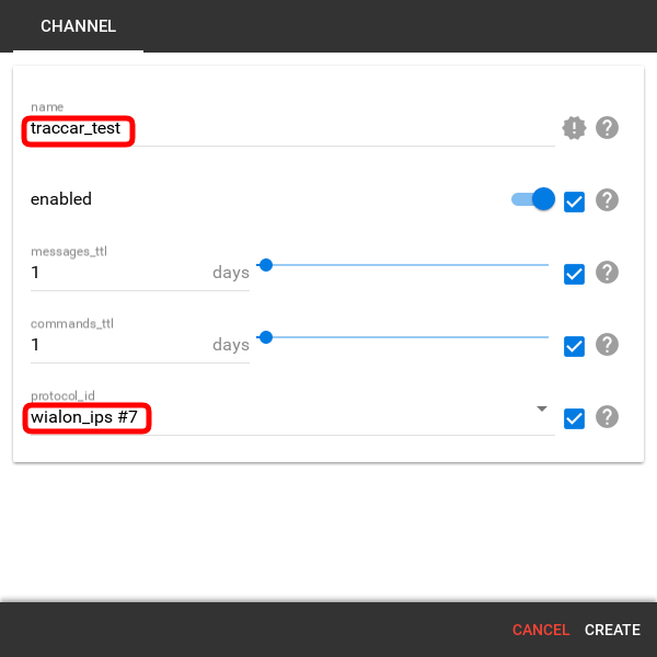 create a channel in flespi