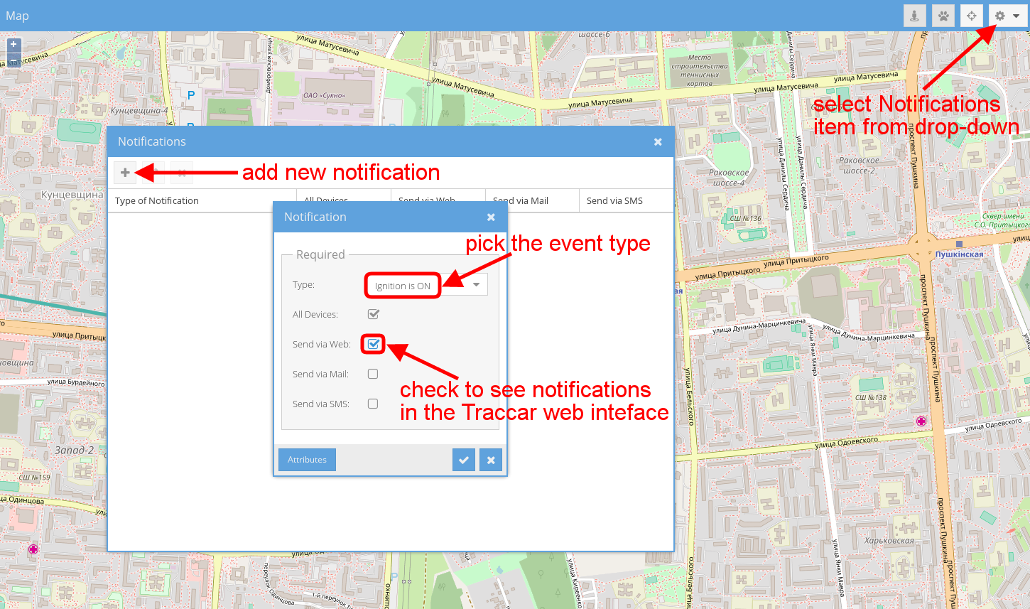 set up notifications in traccar
