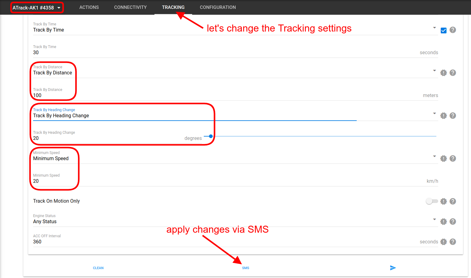 changing tracking settings for atrack tracker