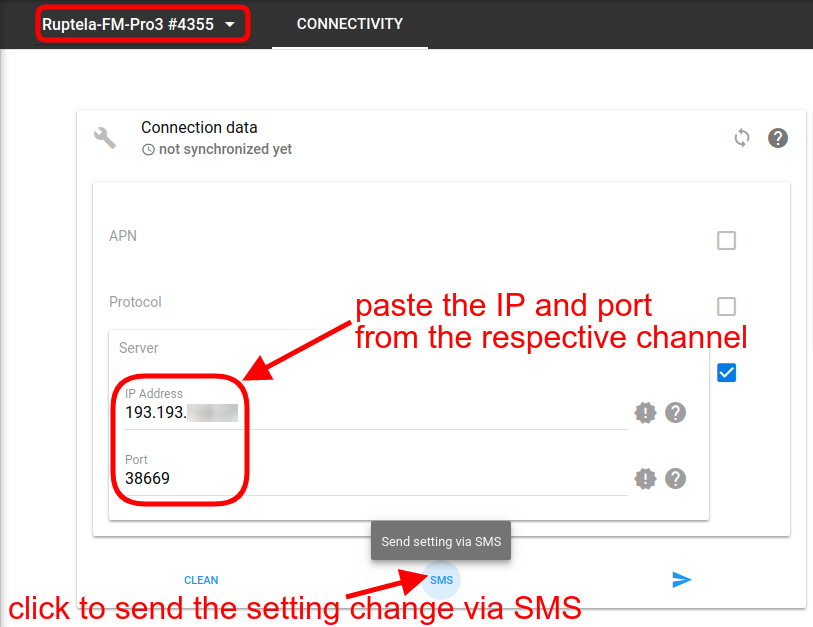 paste ip and port and send sms