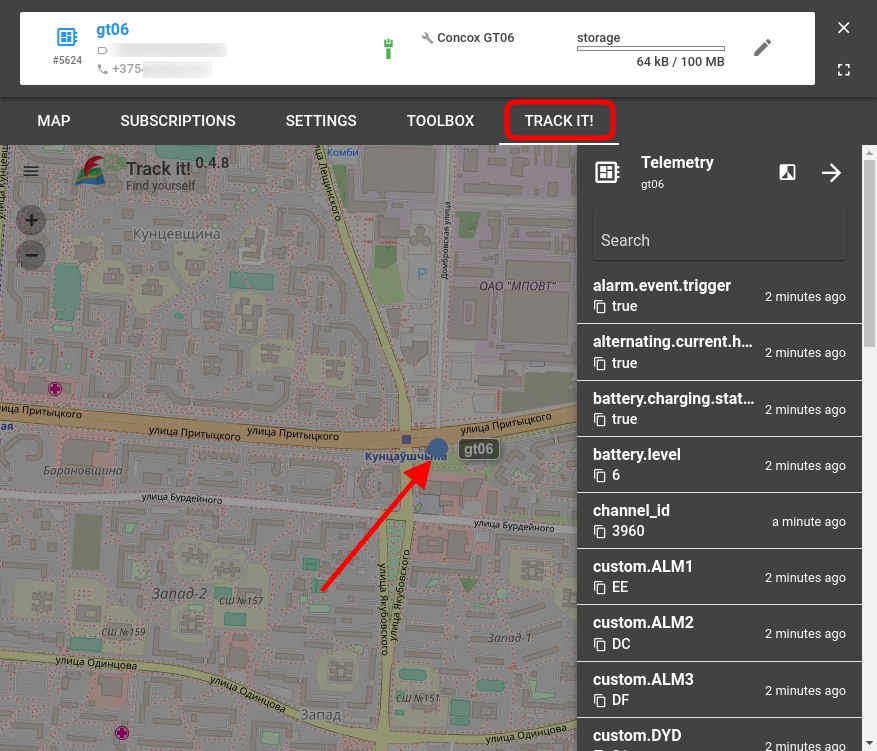 see flespi unit on the map in trackit