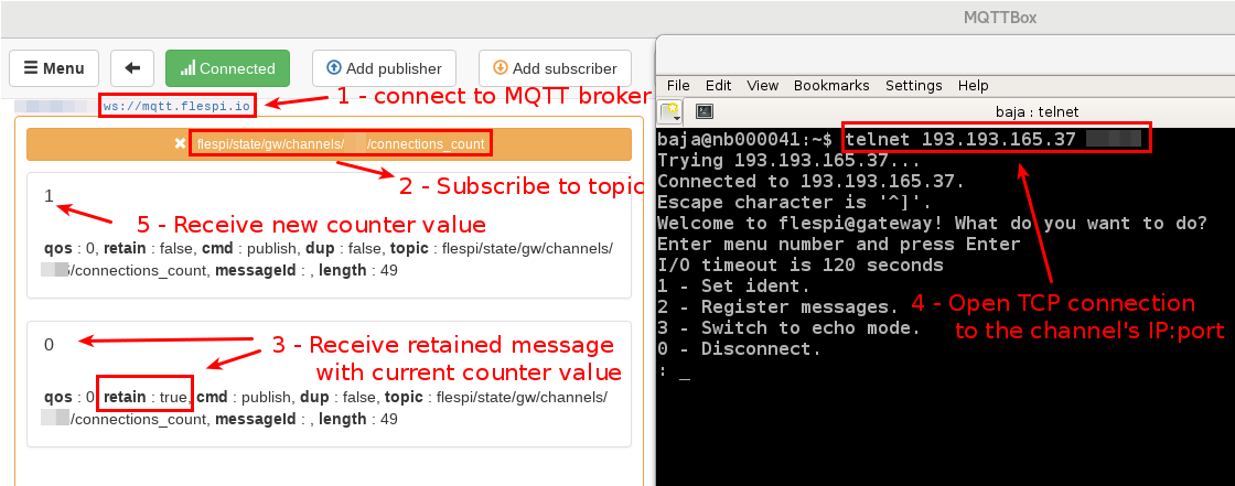 subscribe to flespi state via mqtt