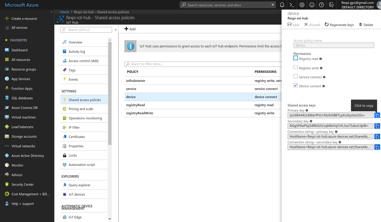 azure stream device policy key