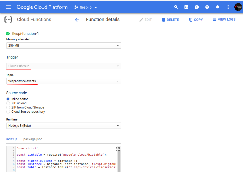 google cloud function