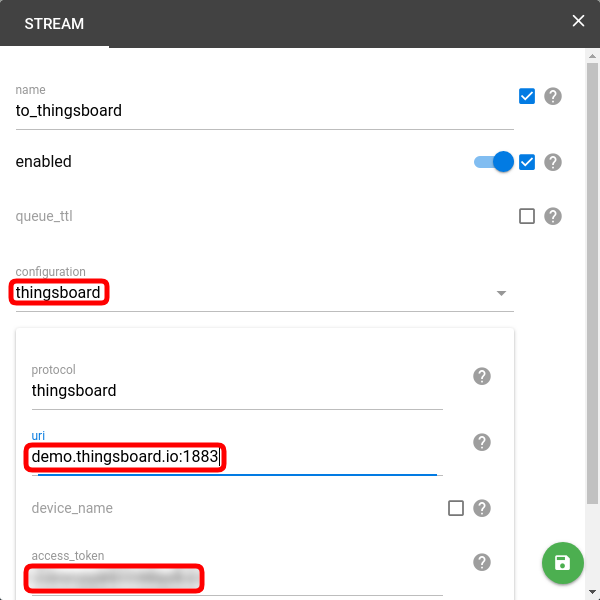 create flespi stream to thingsboard