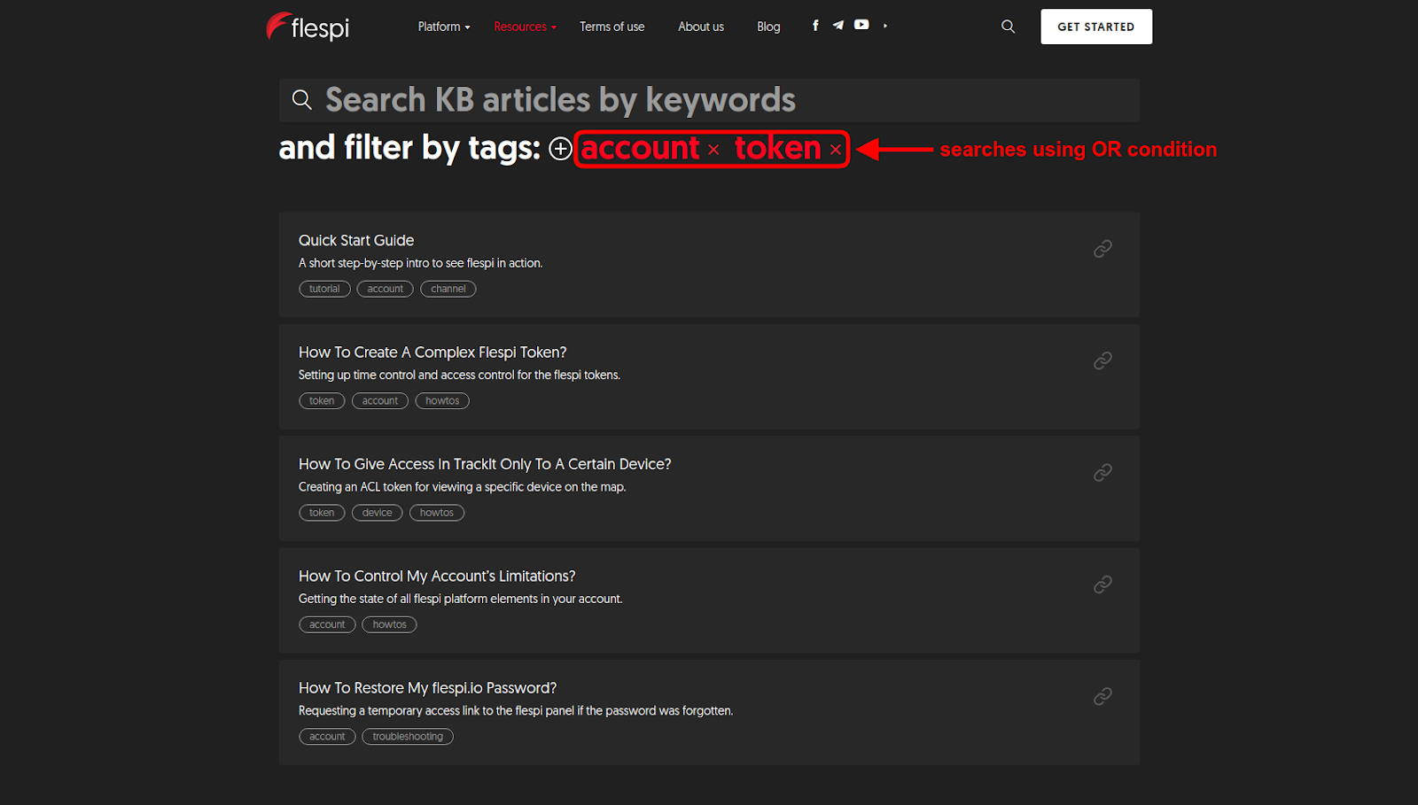 filter knowledge base by several tags