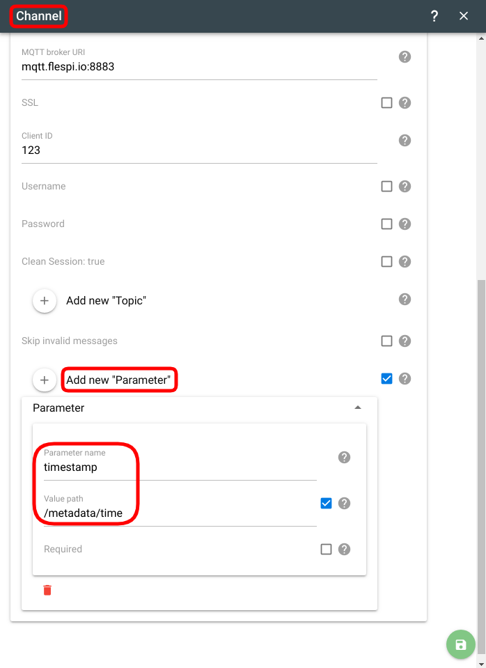 flespi mqtt channel message parameters