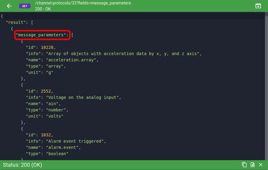message parameters result of api call