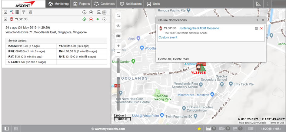 truck entering a store geofence