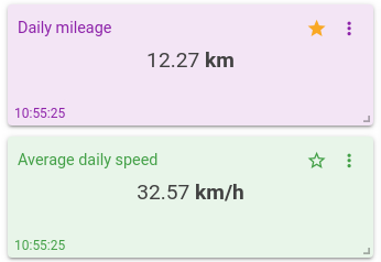 daily mileage text widget mqtt tiles