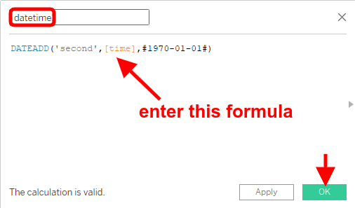 enter formula to convert unix timestamp into date time