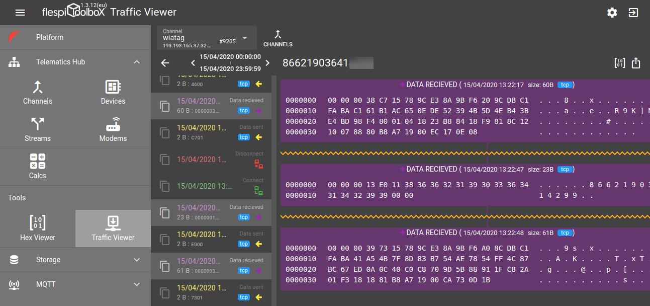 flespi traffic viewer multiple packets